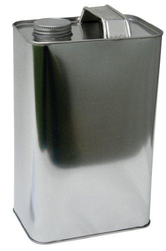 Vestil JUG-S-64 Tin-plated Steel Rectangular Jug with Metallic Cap 3-38 Length x 5 Width x 8-12 Height 64 oz Capacity