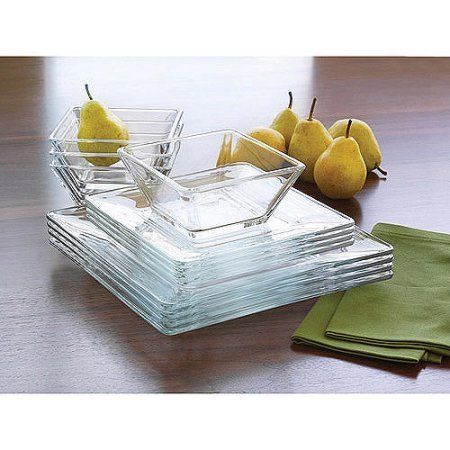 12-Piece Square Glass Dinnerware Set - New