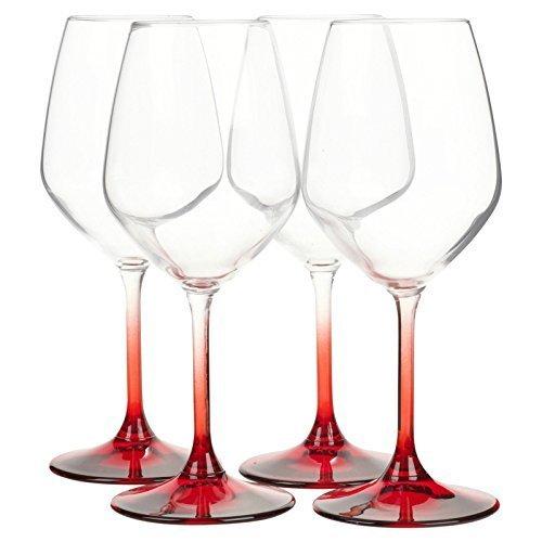 Bormioli Rocco Set Of 4 Coloured Stem Wine Glasses Dinner Gift Box Glassware - Made In Italy