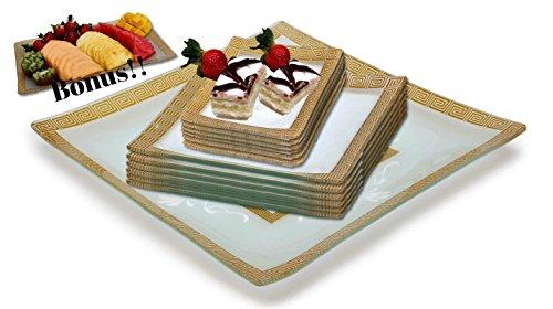 GAC Designed Square Tempered Glass Dinnerware Set Service for 6 with Square Serving Platter Plus Bonus Glass Rectangular Platter – Break Resistant – Oven Microwave and Dishwasher Safe