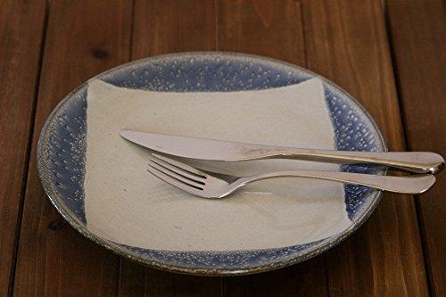 Handmade Ceramic Dinner Plate - White and Blue