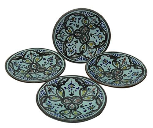Moroccan Ceramic Plates Handmade Appetizer Tapas Serving Set Of Four Aqua