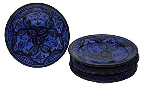 Moroccan Ceramic Plates Handmade Appetizer Tapas Serving Set Of Four Blue