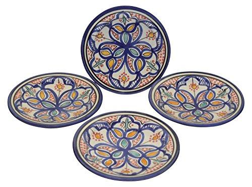 Moroccan Ceramic Plates Handmade Appetizer Tapas Serving Set Of Four White Multicolored