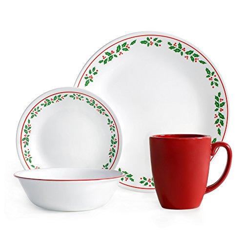Corelle Livingware 16-Piece Dinnerware Set Winter Holly Service for 4