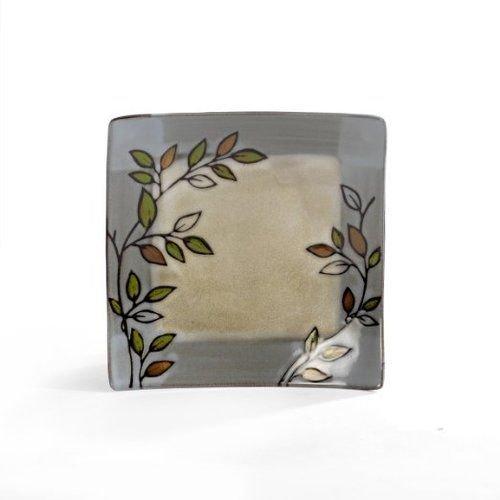 Pfaltzgraff Rustic Leaves Square Stoneware Accent Plate 9-14-Inch