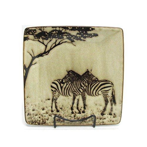 Wildlife Safari Hugging Zebra Square Stoneware Salad Plate