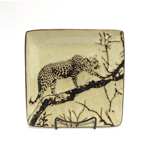 Wildlife Safari Leopard On A Tree Square Stoneware Salad Plate