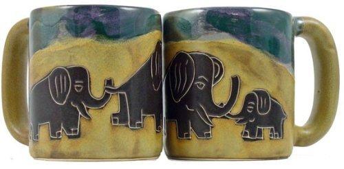 One 1 MARA STONEWARE COLLECTION - 16 Ounce Coffee Cup Collectible Mug - Elephant Design
