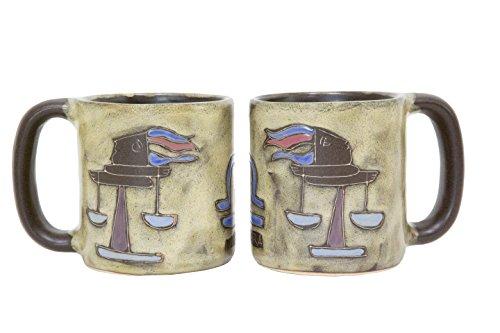 One 1 MARA STONEWARE COLLECTION - 16 Oz Coffee Cup Dinner Mug - Zodiac Sign - Libra The Balance Scales Design
