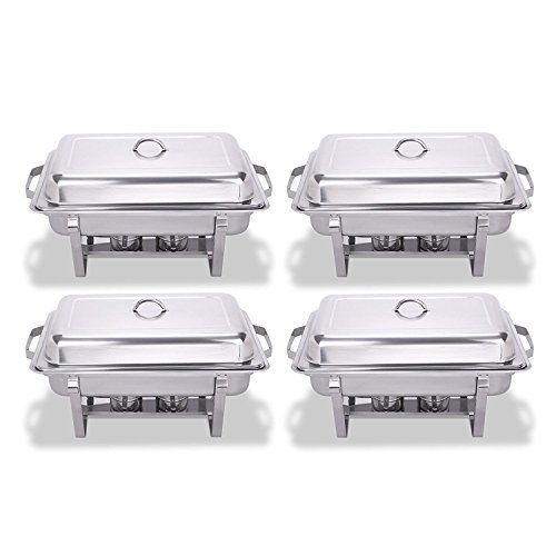 King Chafing Dish Set of 4 Stainless Steel Chafer Full Size 8 Quart Food Chafing Dishes for Catering Buffet Warmer Tray Kitchen Party Dining Set of 4 Bonus Stackable 4
