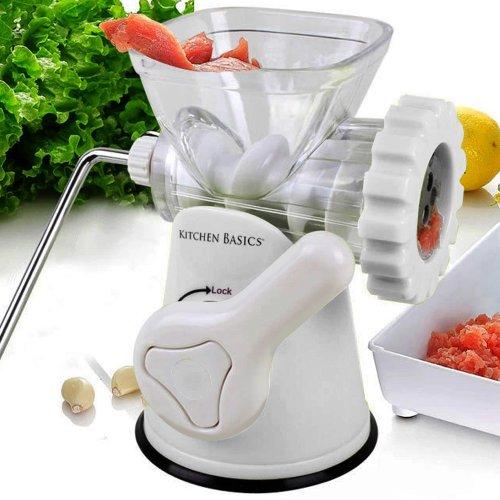 Kitchen Basics 3-in-1 Meat Grinder And Vegetable Grinder/mincer, 3 Size Sausage Stuffer, Pasta Maker (white)
