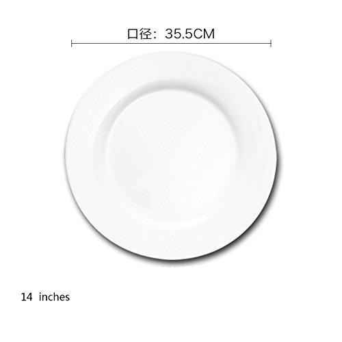 Dinner plate white ceramic plate hotel western tableware flat steak plate western dish 10 inch 11 inch 12 inch 14 inch-C