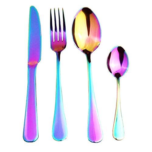 NiGHT LiONS TECH kitchen utensil set Homeware Stainless Steel Western Tableware 4-Piece Dinnerware Set knife fork spoon teaspoon