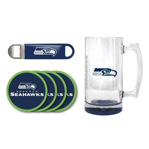 NFL Team Logo Giant Beer Mug Coasters and Bottle Opener Gift Set - 25oz Beer Mug Beverage Set Seahawks