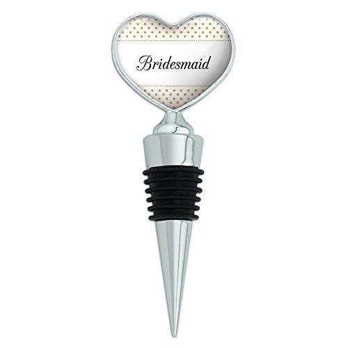 Bridesmaid Wedding Elegant Polka Dots Heart Love Wine Bottle Stopper