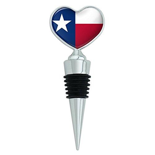 Texas State Flag Heart Love Wine Bottle Stopper