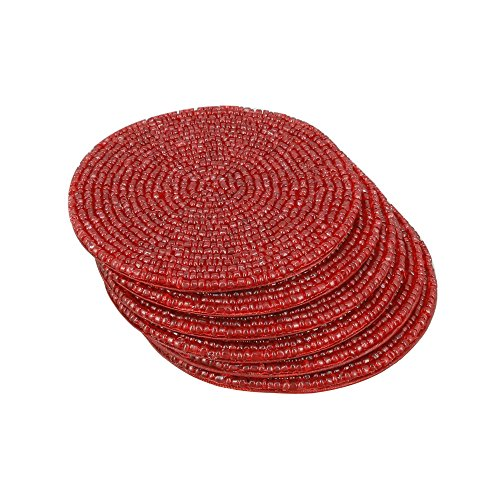 Handmade Indian Red Beaded Tea Coasters - 4 Inch Placemats for Teacups - Set of 6 Cup Coasters
