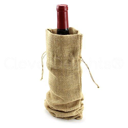 10 Pack - CleverDelights 14 Burlap Wine Bags with Drawstring - 100 Natural Jute Burlap - 14 x 5