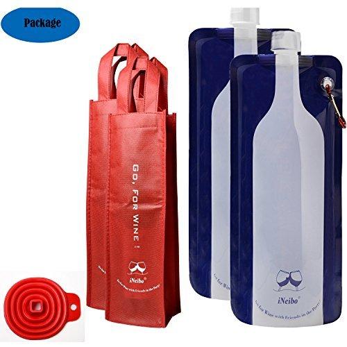 iNeibo Reusable Foldable Flexible Wine Bag for Wine to Go 750ml - Includes Wine Bottle Carrying Case Collapsible Filling Funnel ¨C Bonus Climbing Hook 2pk