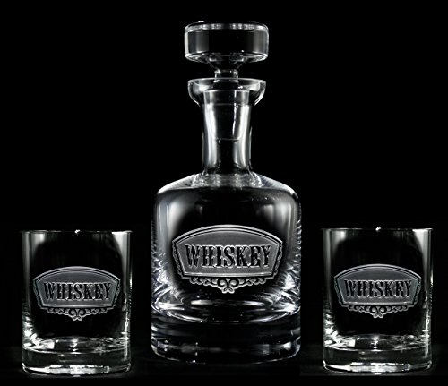 Engraved Whiskey Decanter and Glass Gift Set 4 Glasses