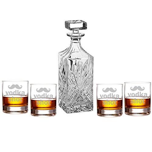 Vodka Shot - Mustache Silhouette Engraved Decanter Set with Rocks Glasses