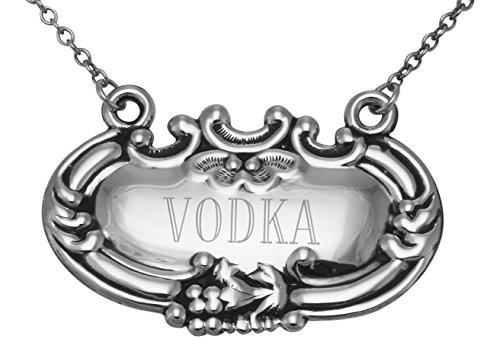 Vodka Liquor Decanter Label  Tag - Sterling Silver