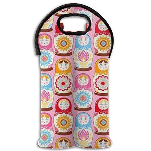 Nesting Dolls Neoprene Wine Carrier Tote Bag Great For Colorful Sealed Wine Bag Purse Bridal Shower Outdoor Events 2 Bottle