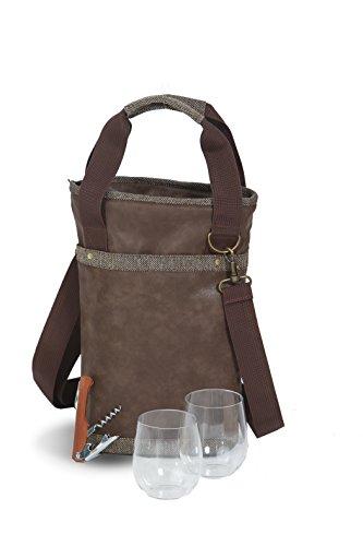 Omega Single Wine Bottle Bag Thermal Insulated - Soft Vegan Leather Wine Bag Includes Unbreakable Stemless Wine Goblets Opener