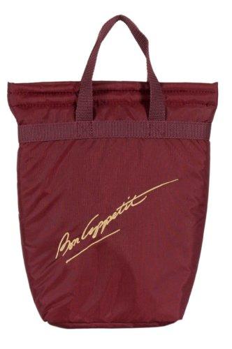 chill-n-go Embroidered Two Bottle Bag - Insulated Wine Bottle Bag Burgundy Bon Appetit