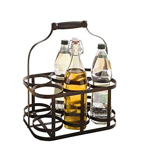 6-Bottle Metal Rack Basket Caddy Holder Wine Carrier with Wood Handle Product SKU HD222048