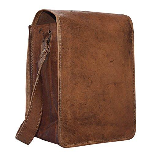 11 Hight Bottle Carrier Bag - 2 Bottle Pockets - Vintage Genuine Leather Brown Attractive Bottle Holder Bag With Soft Denim padding