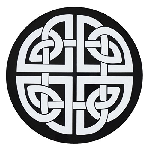 Round Placemats Vinyl Placemats Plastic Placemats Wipe Off Set of 4 Black and White Celtic Knot Mats