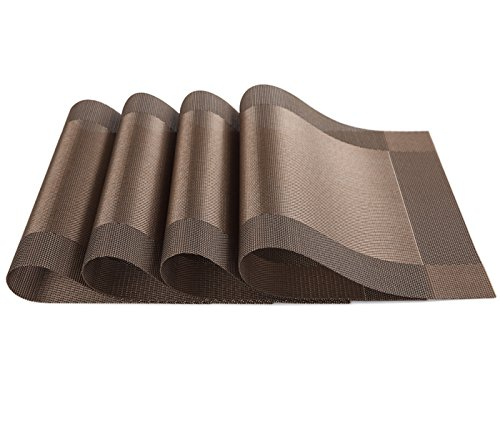 SiCoHome Placemats PVC Dining Room Placemats for Table Heat Insulation Stain-resistant Kitchen Placemat Simple Style Plastic Placemats Vinyl PlacematsSet of 4 Diagonal Brown