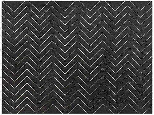 Harman Chevron Hardboard PVC Faux Leather Placemat Black 4-Pack