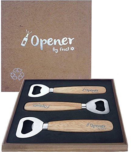 Bottle Opener - Set Of 3 Wooden Bottle Opener By Trendy Bartender - High Quality Bartender Bottle Opener - Soft