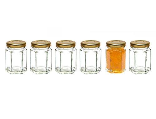 Healthcom 6 Pcs 28 Oz Hexagonal Canning Jars Wide Mouth Quart Jam Jars Hexagon Glass Jars Mason JarsGold Lid85ml