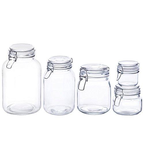 Kinetic GoGreen Glassworks 5 Piece Glass Canning Jar Set 7oz-18oz-34oz-68oz-102oz 56028