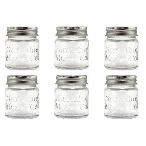 Sunshine Mason Co Mini Mason Jar Shot Glasses with Metal Lid 2 Ounces 6 Pieces