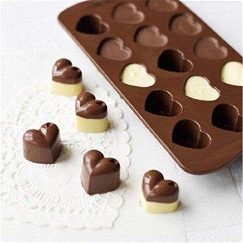 HAKSEN Mini 15-Heart Shape Silicone Ice Cube  Chocolate  Cake Mould