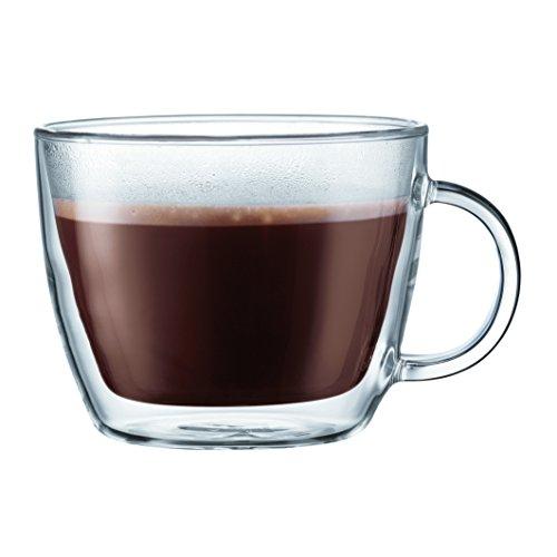 Bodum Bistro 2 Piece double wall 045 L 15 oz Cafe Latte Cup Clear