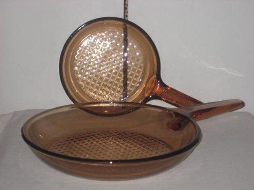2 Corning Visions Vision Ware  Visionware Amber 7 inch 10 inch Frying Pan  Skillet Set