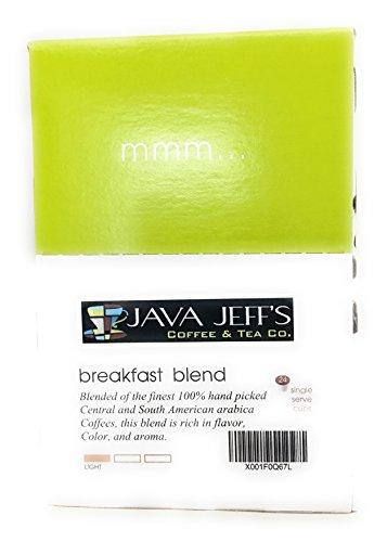 Breakfast Blend K Cups By Java Jeffs - Light Roast 100 Arabica Coffee - Single Serve Coffee K Cups - Keurig 20 Pods 24 Count