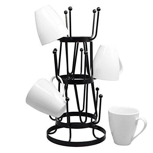 Stylish Steel Mug Tree Holder Organizer Rack Stand Black