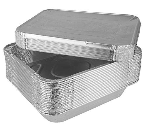 SmorgasWare - Disposable Half Size Deep Aluminum Steam Table Pans With Lids Aluminum 20 Pans And 20 Lids  40 Value Pack