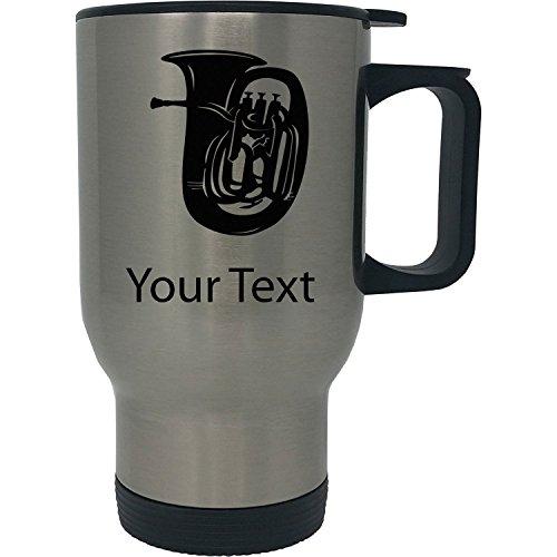 Custom Personalized Tuba 14 oz Silver Stainless Steel Travel Coffee Mug with Handle