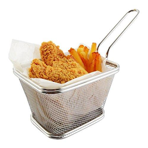 Best Utensils Chips Fry Baskets Stainless Steel Fryer Basket Strainer Serving Food Presentation Cooking Tool French Fries Basket PACK OF 2 SIZES