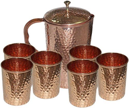 Parijat Handicraft Hammered Copper Jug Pitcher 6 Glass Tumbler  Storage Serving water Restaurant Hotel Home Set of 7 pieces