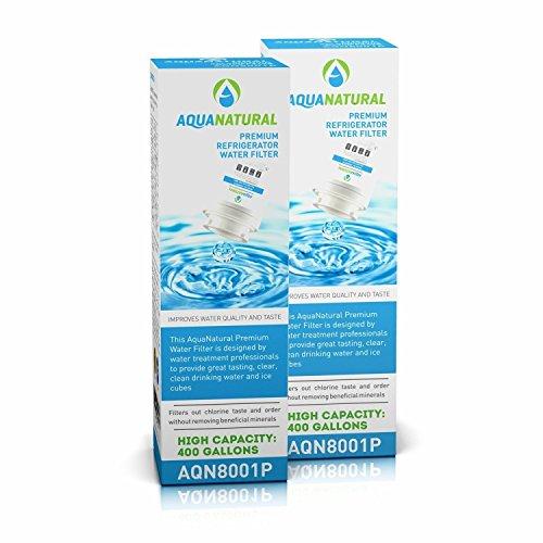 AquaNatural Refrigerator Water Filter AQN8001P  Water Filter for Refrigerator Models Maytag Whirlpool Kenmore Viking Bosch More 2 Premium Water Filtration System Units AQN8001P