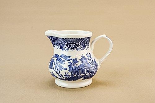 Modernist Vintage Churchill Milk Pottery CREAMER Service Slick Blue And White Willow Medium Late 20th Century English LS